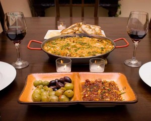 A paella and tapas feast.
