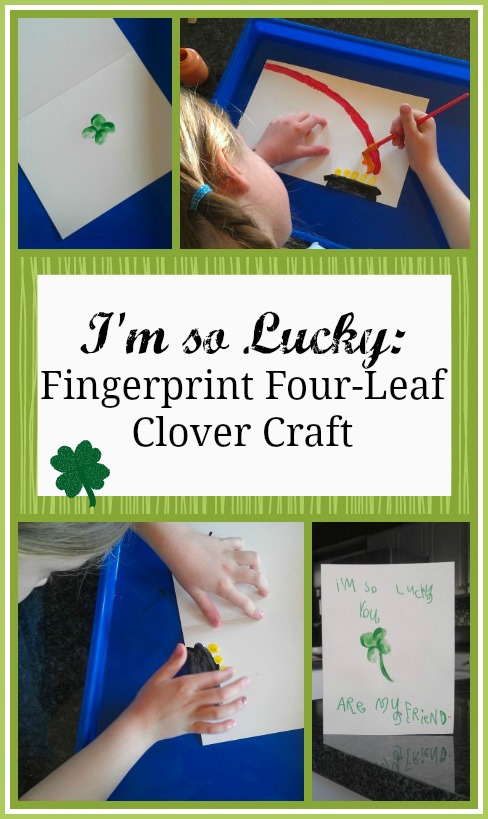 Adorable St Patrick's Day fingerprint card craft