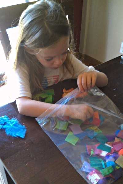Rainbow themed color sorting activity for kids.